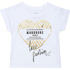 Mini girls white heart print t-shirt