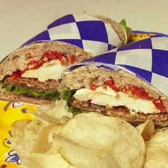 Calabria Sandwich from Rosemary & Thyme (Newport, RI):  Calabria ~ chilled breaded grilled eggplant, fresh mozzarella, roasted red peppers, baby arugula, & mango/pepper jam served on a whole wheat ciabatta roll