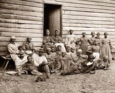 """Here for your perusal is a collectible photograph of Cumberland Landing, Virginia Group of """"contrabands"""" at Foller's house.  It was created in 1862 by Gibson, James F., b. 1828."""