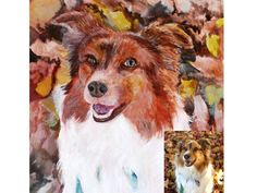 Custom pet portrait for a personalized pet art gift. A hand painted acrylic pet gift. Pet Dogs, Pets, Pet Mice, Pet Art, Dog Paintings, Dog Portraits, Hand Painted, Gift, Dogs