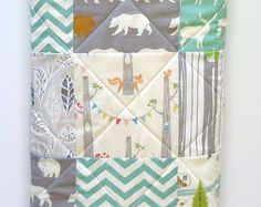 Handmade Baby Quilt- Organic birch Fabric-Rustic Baby Boy Bedding-Gray-Grey-Aqua-Woodland Animal-Elk-Owl-Bear-Deer Baby Blanket