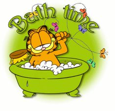Garfield says that it's bath time. Garfield Quotes, Garfield Cartoon, Garfield And Odie, Garfield Comics, Garfield Pictures, Funny Pictures, Cartoon Books, Cartoon Characters, Fictional Characters