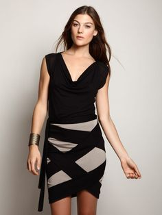 I really am just loving the black and gray bondage skirt! So HOT! (Jersey and Contrast Silk Draped Top by Robert Rodriguez on Gilt)