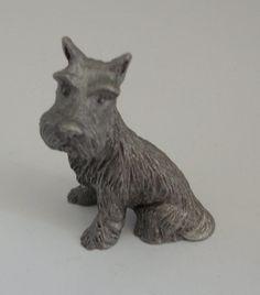 Sitting schnauzer pewter figurine