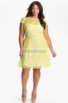 Stylish A-line Knee-length Bateau Short Sleeve None Lace Plus Size Bridesmaid Dresses