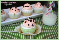 Watermelon Cupcakes made with Duncan Hines White cake mix by Shugary Sweets.