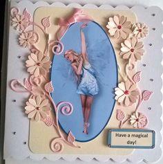 Beautiful Handmade Fairy and Flowers Card £0.98