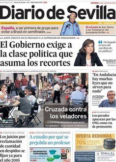 Los Titulares y Portadas de Noticias Destacadas Españolas del 23 de Junio de 2013 del Diario de Sevilla ¿Que le parecio esta Portada de este Diario Español?