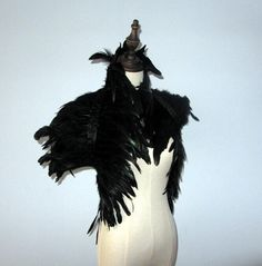 32inch Long 2 layer Black rooster coque feather Shrug Cape Wraps Shawl with high collar for All Adult by weddingfeather on Etsy https://www.etsy.com/listing/252450620/32inch-long-2-layer-black-rooster-coque