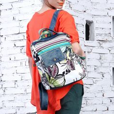 Walking Flower Ethnic Watercolor Floral Denim Backpack With Color Stripe D