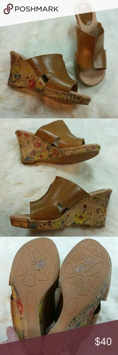 Cute floral beige leather slides Beige leather slides wedge sandals with super cute floral print on the heel. Very good conditon. BOC by Born Shoes Wedges