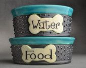 Dog Bowls by Symmetrical Pottery. I am in LOVE with this ETSY site.  Beautiful and original work!!!