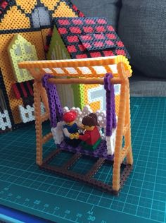 Little House project perler beads by Poppy Yu Melty Bead Patterns, Pearler Bead Patterns, Perler Patterns, Beading Patterns, Hamma Beads 3d, Peler Beads, Fuse Beads, Diy Perler Beads, Perler Bead Art