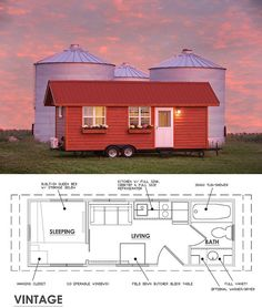 Tiny house floor plans for the Vintage.