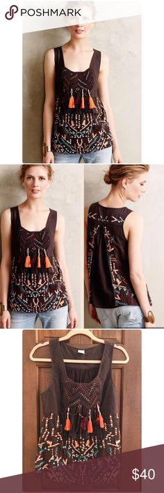 """Anthropologie Rigmarole Tank Fringe, trim and pompoms, oh my! Akemi + Kin's colorful tank lends a sunny, festive feel to summer staples.❤️  By Akemi + Kin Cotton Hand wash Regular: 24.5""""L Imported Retail $128 Worn once no flaws Anthropologie Tops"""