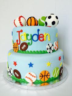 set of fondant balls cake Ball Theme Birthday, Sports Birthday Cakes, Sports Themed Cakes, Sports Themed Birthday Party, Soccer Birthday, Themed Birthday Cakes, 2nd Birthday Parties, Sports Party, Baby Birthday