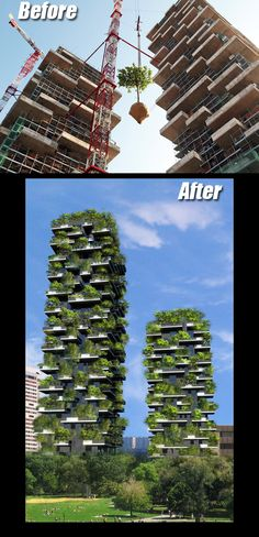 """Bosco Verticale in Milan, Italy - Bosco Verticale, or """"Vertical Forest"""", is an architectural project completed in 2013 by Italian architect Stefano Boeri. Vertical Forest, Vertical Gardens, Home Irrigation Systems, Green Roof System, Living Roofs, Diy Greenhouse, Roofing Systems, Sustainable Architecture, Green Architecture"""