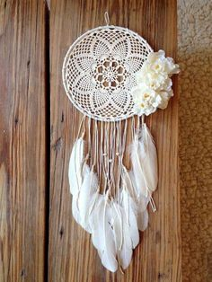 Lace Dreamcatcher with flowers & feathers