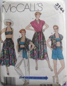 Easy Non-Stop Wardrobe Sewing Pattern - Shirt, Bra, Skirt, Pants, Shorts and Sash - McCall's 3144 - Size 14, Bust 36 by Shelleyville on Etsy