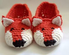Instant Download Crochet Pattern Fox Slippers Child by Mamachee
