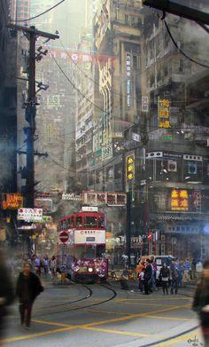 Crossing by EmilisB on DeviantArt Ville Cyberpunk, Cyberpunk City, Futuristic City, Cyberpunk Aesthetic, City Aesthetic, Future City, Science Fiction Art, Geek Art, Cultura Pop