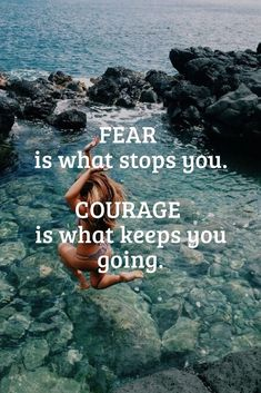 Fear is what stops you. courage is what keeps you going. sayings courage quote image Great Quotes, Quotes To Live By, Me Quotes, Motivational Quotes, Inspirational Quotes, Amazing Quotes, Qoutes, Courage Quotes, Just Dream