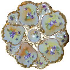 Hand Painted Limoges TandV Porcelain Oyster Plate at 1stdibs
