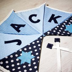 Handmade classic baby boy bunting, personalised with any name. Each flag is carefully produced by hand therefore can be made to suit your own ideas. Name Bunting, Nursery Bunting, Baby Nursery Diy, Fabric Bunting, Name Banners, Bunting Ideas, Buntings, Nursery Decor, Christening Present