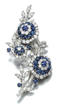 Cartier Sapphire, Diamond and Platinum Brooch