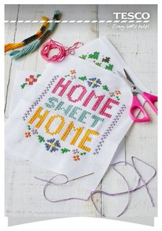 Take on a relaxing summer project and create a work of art for your home with our free cross-stitch patterns. Make a classic Home Sweet Home design or choose a colourful garden tree. | Tesco