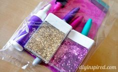 How to make cute Repurposed Tic Tac Packs Craft Kits for gifts or party favors! Or use them to hold glitter.