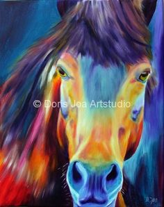 Horse (without title), oil painting, inch. This is one of my colourful Horse painting. Beside my realistic paintings I paint from time to time a colourful Horse in oil on Canvas. - by Doris Joa. Art Amour, Horse Oil Painting, Painting Art, Painted Horses, Equine Art, Horse Art, Horse Head, Animal Paintings, Horse Paintings