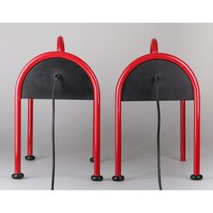 simple and bright TV table lamps in cherry red by Ettore Sottsass for Stil Novo
