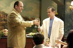 Tony Soprano (James Gondolfini) toasting his cousin Tony Blundetto (Steve Buscemi) in happier times. Sopranos Cast, The Incredible Burt Wonderstone, Cast Images, Tony Soprano, Steve Buscemi, The Way I Feel, The Big Lebowski, Great Tv Shows, Movies