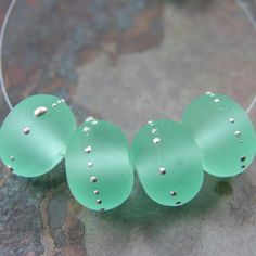 Etched Pale Emerald Green Lampwork Beads Sea Glass Silver 031efs \\ I need to buy some of these. Beautiful!