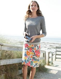 Cute summer casual look from Boden. Multi island bloom skirt (WG430, $68), essential tee (LS, WL629, $24), must have jumper (WK723, $88)