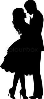 Stock vector illustration of a silhouette of loving couple hugging | Vector | Colourbox on Colourbox