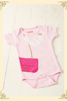 for my stylish child   Fashionista Pink Bag & Pearls Onesie