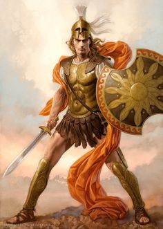 Ares - wounded by Diomedes, who was assisted by Athena, and in his fall he roared like nine or ten thousand other warriors together