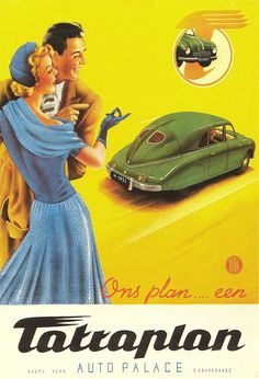 Car advertising poster from Vintage Advertisements, Vintage Ads, Vintage Posters, Retro Posters, Classic Motors, Classic Cars, Motos Vintage, Car Illustration, Car Posters