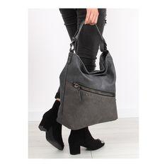 Sivá veľká kabelka zdobená vybíjaním pre dámy, vyrobená v EU za skvelé ceny a z vysoko kvalitných materiálov v najmódnejších štýloch