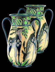 Antique Deco Secessionist Campina Blue Lavender Deer Design Vase PR Marco Japan | eBay