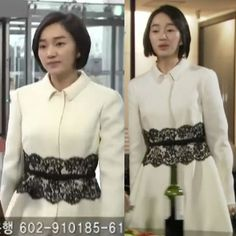 Black lace trimming Ivory coat