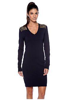 Michael Kors Studded Shoulder Sweater Dress Belk Black Knit
