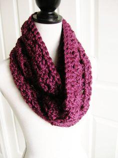 Crocheted Cowl Infinity Scarf-Purple  Plum Circle by RoseJasmine