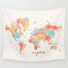 Personalized world map tapestry, colorful watercolor, detailed world map, world map travels, bohemia