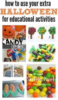 Use up Halloween Candy with these educational activities that use candy to get kids excited about the lessons!