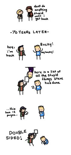 My new favorite thing. Clint is awesom, Bucky is perfect, & Steve is too adorable for words. | This is so cute