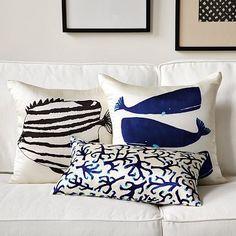 ocean-inspired pillows Like the whale pillow Coral Pillows, Nautical Pillows, Nautical Home, Accent Pillows, Throw Pillows, Coastal Style, Coastal Living, Coastal Decor, Whale Pillow