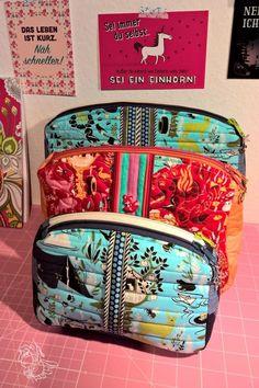 KreaMino: Sew Sweetness Filigree Double-Zip Pouches sewing pattern in Tula Pink fabrics